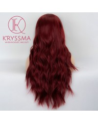 Burgundy Long Wavy Synthetic Wig 22 Inches