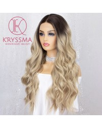 K'ryssma Ombre Blonde Lace Front Wig Long Way Lace Wigs with Dark Roots