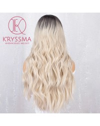 Blonde Ombre Lace Front Wig with Dark Roots Wavy Long Synthetic Wigs Heat Resistant