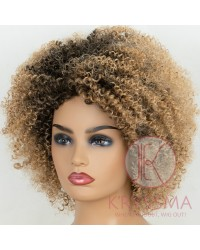 K'ryssma Kinky Curly Synthetic Wig Natural Looking Short Ombre Curly Wigs for Women Full Machine Made Afro Kinkys Curly Hair Wig
