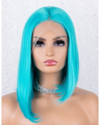 Bright Blue Straight Asymmetric Bob Lace Front Wigs Synthetic Wig for Party