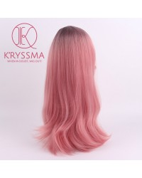 Ombre Pink Long Natural Straight Synthetic None-Lace Wig Heat Resistant
