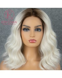 Ombre Blonde Bob Short Natural Wavy Synthetic Lace Front Wigs