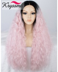 Baby Pink Long Curly Synthetic Wig with Black Roots 24 inches