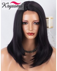 Light Yaki Deep Purple Natural Straight Synthetic Wig