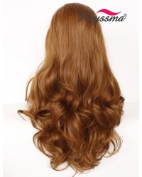 Brown Long Wavy Side Parting Synthetic Wigs 24 inches