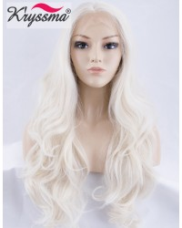 Platinum Blonde Long Natural Wavy Synthetic Wigs
