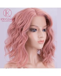 Peach Pink Short Bob Wavy Synthetic Lace Front Wigs