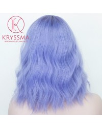New Light Purple Short Bob Wavy Synthetic Wig Heat Resistant Glueless for Cosplay