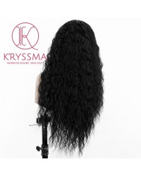 Black Long Curly Lace Front Wig for Women 22 inches