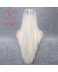 Ombre Blonde with Dark Roots Long Straight Synthetic Lace Front Wig