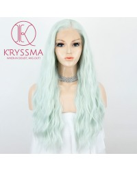 Light Green Lace Front Wig With Heat Resistnat Long Wavy Synthetic Wigs For Women