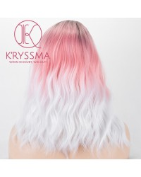 None Lace Synthetic Wigs Short Bob Wig Ombre Pink To White Dark Roots 3 Tones Wavy Pink Wig With Side Parting