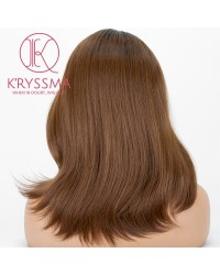 Ombre Brown Lace Front Wig With Dark Roots Short Wavy Synthetic Wigs For Women Heat Resistant