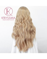 Ombre Blonde Lace Front Wig With Dark Roots Long Wavy Synthetic Wig Glueless Heat Resistant Wigs For Women