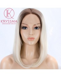 Dark Roots To Blonde Short Bob Synthetic Lace Front Wigs