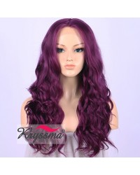 Purple Long Wavy Synthetic Lace Front Wig 22 inches