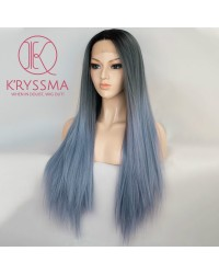 Gery to Blue Lace Front Wig Ombre Synthetic Wig Long Silk Straight - Processing Time: 5 Days