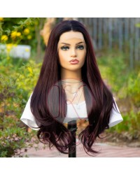 NEW ARRIVAL 99J Deep Burgundy Long Natural Straight Lace Front Wig with Dark Roots 22 inches