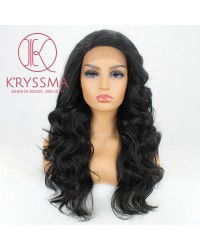 Black Long Wavy Lace Front Wigs 20 inches (#1B)