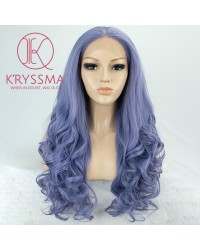 Fashion Purple Wavy Long Synthetic Wigs 22 inches