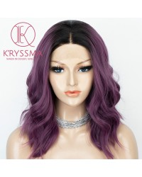 Dark Purple Wavy Short Bob Lace Front Wigs Heat Resistant Ombre Wig with Dark Roots
