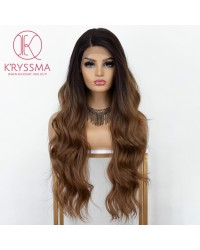 Brown Lace Front Wig Ombre L Part Synthetic Wig with Dark Roots Long Wavy Brown Ombre Wigs for Women Deep Side Parting