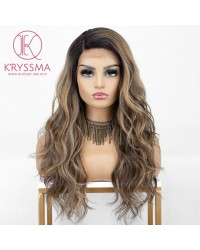 Ombre Brown Lace Front Wigs with Highlights 18 inches Long Wavy Synthetic Wig Deep Side Parting Brown Ombre Wig with Dark Roots