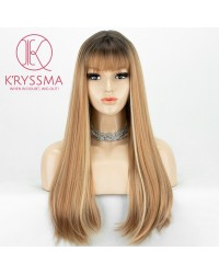 2 Tones Ombre Brown Long Straight Synthetic None-Lace Wig 20 Inches