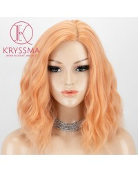 Orange Wavy Short Bob Wig with Side Parting Glueless Synthetic Wigs Heat Resistant Hair