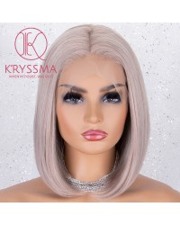 Ash Pink Lace Front Synthetic Wigs Natural Hairline Short Bob Wig For Women Heat Resistant - Processing Time: 5 Days