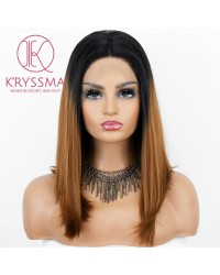 Ombre Brown Bob Wig Shoulder Length Straight Lace Front Wigs 2 Tones Synthetic Wig with Dark Roots 14 Inches