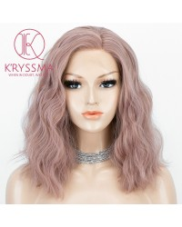 K'ryssma Ash Pink Lace Front Wigs Short Bob Wig Heat Resistant Grey Synthetic Wigs for Women