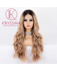 Dirty Blonde Lace Front Wig With Dark Roots Ombre Long Wavy Synthetic Wig Glueless Heat Resistant Wigs for Women