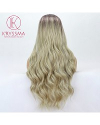 2 Tones Ombre Blonde Long Wavy Synthetic Wig with Dark Roots 24 Inches