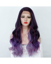 Ombre Purple Long Wavy Lace Front Wig with L Part Two Tones Synthetic Costume Wigs for Cosplay Party