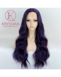 Purple Long Wavy Synthetic Lace Front Wigs 22 inches - Processing Time: 20 Days