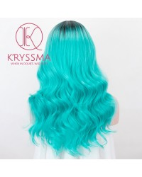 Omerb Cyan Blue None Lace Wig With Dark Roots Medium Length Wavy Synthetic Wigs For Cosplay Heat Resistant
