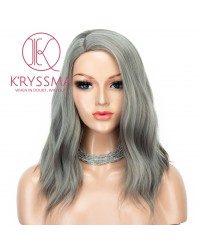 Ash Platinum Blonde None Lace Bob Wig Short Wavy Glueless Synthetic Wigs For Women