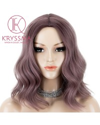 Ash Purple Short Wavy Glueless Synthetic Wigs None Lace Bob Wig For Wowen Heat Resistant