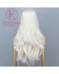 Platinum Blonde None Lace Synthetic Wig Middle Part Long Wavy Wigs For Women Heat Resistant Full Machine Made Wig