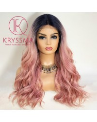 Pink Lace Front Wig Ombre with Roots T Part Medium Length Wavy Synthetic Wigs