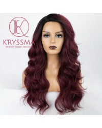 Ombre Burgundy Long Natural Wavy Synthetic Wig 22 inches