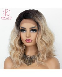 Ombre Blonde Lace Front Wigs for Women Short Wavy Synthetic Wig