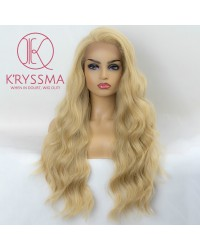 Blonde Lace Front Wig Long Wavy Synthetic Wigs for Women #613 Mixed Light Blonde Lace Wig 24 inches