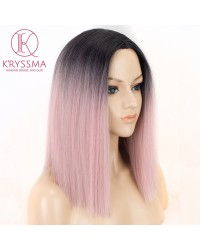Ombre Pink Short Bob Synthetic None-Lace Wigs with Black Roots