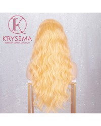 Fashion Blonde Front Lace Synthetic Wigs Natural Hairline Long Wavy Bright Yellow Wig For Women Heat Resistant