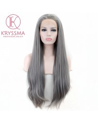 Grey Long Natural Straight Lace Front Wig Heat Resistant 24 inches