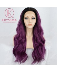 Dark Purple Lace Front Wig Black Roots Long Fashion Wavy Glueless Ombre Synthetic Wig Middle Parting Heat Resistant 22 inches