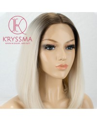 Lace Front Wigs Ombre Blonde Synthetic Wigs Brown Roots Heat Resistant Short Bob Straight Wig